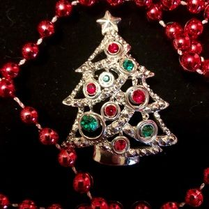 Vtg Christmas Tree Rhinestone Pendant Pin Brooch